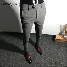 Helisopus Dress Pants Men Solid Color Slim Fit Male Social Business Casual Skinny Suit Pants - Men's style, accessories, mens fashion trends 2020 Mens Plaid Pants, Men Trousers, Mens Trousers Casual, Mens Dress Pants, Men Casual, Suit Pants, Casual Pants, Slim Fit Dress Pants, Pant Shirt