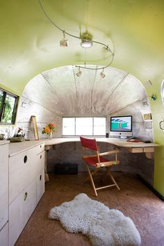 Converting vintage 1959 Airstream travel trailer to an office space could make for some interesting times.