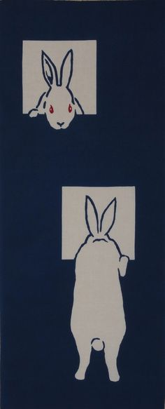 Rabbit Fabric Japanese Tenugui Cloth 'Two Rabbits, Two Windows' Navy Blue Cotton w/Free Insured Shipping
