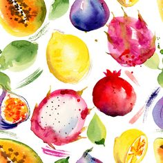 Seamless pattern with tropical fruits. on Behance