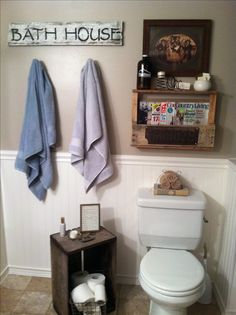 Rustic bathroom decor... Reclaimed crate...pallet shelf...bathroom shelving and storage ideas
