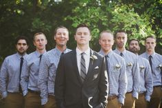 With the cooler weather and changing leaves, fall weddings are the perfect opportunity for the groom and his men to get a little more creative with their wedding day attire. Tweeds! Cardigans! Plaid shirts! Here's 7 fun examples of groomsmen looks we love for autumn.   	1. CHECKED SHIRTS   	  	Gingham and khakis are the perfect way compliment a solid suit at a more casual wedding. For a more coordinated look, have the groomsmen match their tie color to the groom's s...