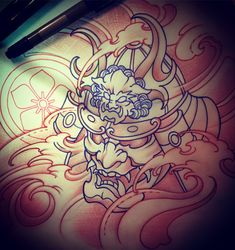Amsterdam TATTOO 1825 KIMIHITO Samurai Mask TATTOO design