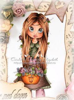Cardville- Cards by Elizabeth ~Copic Colors used:  Skin/Hud: E15-13-11-21-000, R20 Eyes/Øyne: B99-95-91 Hair/Hår: E29-25-21, E49 Shirt and skirt/Bluse og skjørt: G99, BG96-93-90, W7 Apron/Forkle: E79-77-74-71-70, W7 Trousers, gloves and roses/Bukse, hansker og roser: RV99-95-93-91 Basket/Kurv: E37-35, YR24-23-21-2o Leaves/Blader: G99-46-43-40 Flowers/Blomster: BV25-23-20.