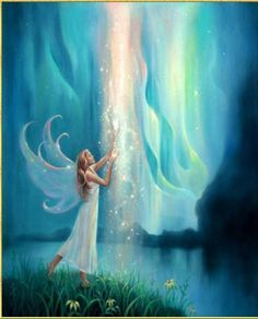 Fairy and waterfall of blessing light