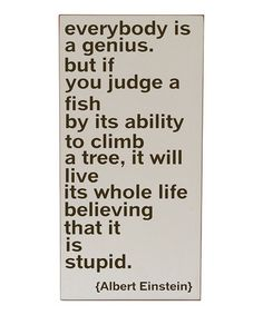 """everybody is a genius, but if you judge a fish by its ability to climb a tree, it will live its whole life believing that it is stupid"" Albert Einstein"