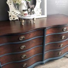 Refinished Bedroom Furniture, Vintage Bedroom Furniture, Bedroom Dressers, Paint Furniture, Upcycled Furniture, Furniture Making, Two Tone Furniture, Kitchen Furniture, Stag Furniture
