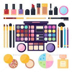 Cosmetics Set of Flat Illustration