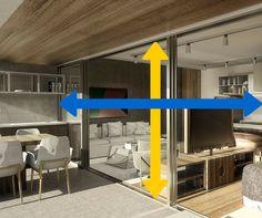Quanto maior a integração da varanda com a sala, MELHOR, porque a circulação fica fluída e permite maior entrada de luz e ventilação natural. Os aptos do Huma Klabin aproveitam o vão ao máximo, com integração de canto a canto, do piso ao teto. Ou seja, tudo!