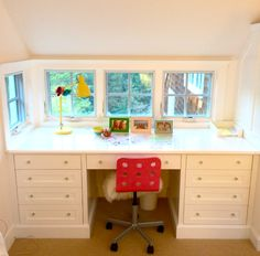 Classic White Built-In Desk with Red Chair - #bigkidroom