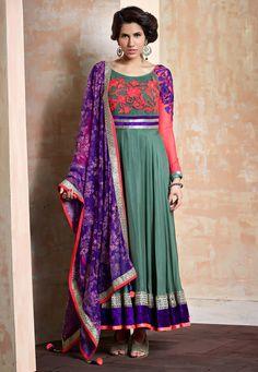 Dusty #Green Faux Georgette Readymade Abaya Style #ChuridarKameez Online Shopping: KGF4405