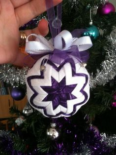 quilted ornament - purple & white