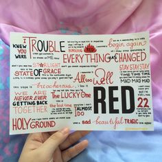 RED by Taylor Swift album lyrics, hand drawn by http://allaroundtaylor.tumblr.com/.