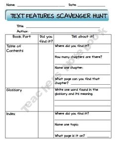 Non-Fiction Text Features Scavenger Hunt. This was a tough concept for the class, going to try this out!