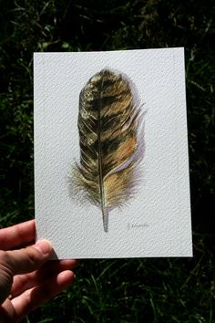 Great Horned Owl feather study - want a tattoo with it and owls breaking off like the bird and feather tattoo design and with the date of my friend Lanie's passing Owl Feather Tattoos, Feather Tattoo Design, Hawk Feathers, Arches Watercolor Paper, Great Horned Owl, Animal Totems, Tattoo Designs, Tattoo Ideas, Swirls