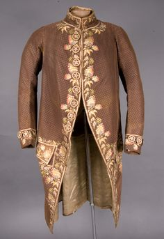 Formal coat, 1775-1800. Brown silk embroidered with multicoloured floral motifs.