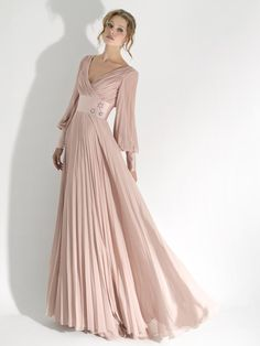 Sumptuous Pink Long Sleeve V-neck Draped Floor Length Evening Dress with Ribbon