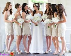 http://www.weddingstuff2014 Champagne Lace Bridesmaid Dress Short Lace Dress by FashionStreets, $138.99