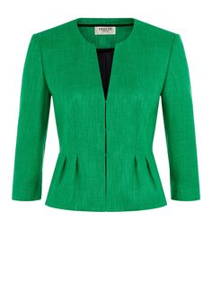 Buy Precis Petite Textured Collarless Jacket, Emerald from our Women's Coats & Jackets range at John Lewis & Partners. Blazers For Women, Coats For Women, Collarless Jacket, Petite Outfits, Blazer Fashion, Work Attire, Look Fashion, Stylish Outfits, Fashion Dresses