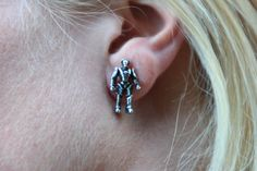Doctor Who pewter Cyberman earrings.