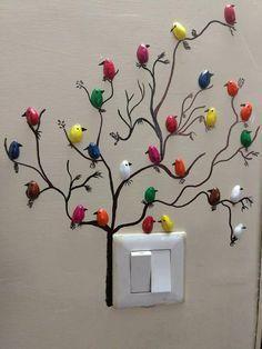 DIY Pista Shell Bird For Wall Decoration Creative Wall Decor, Cheap Wall Decor, Diy Wall Decor, Diy Home Decor, Art Decor, Creative Art, Indian Wall Decor, Diy Wand, Metal Tree Wall Art