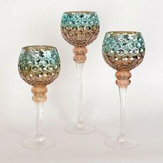 Blue & Brown Mercury Glass Charisma, Set of 3