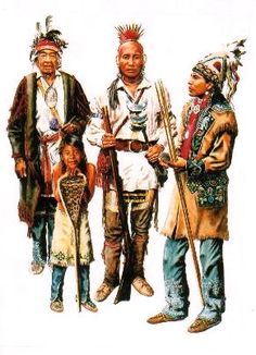 Traditional clothing of the Iroquois around 1750 - Native American Cherokee, Native American Warrior, Native American Images, Native American History, American Indians, Indian Dresses For Kids, Woodland Indians, Iroquois, Native Art
