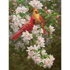 Spring Romance Jigsaw Puzzle, 550 pcs - Herrschners #cardinals #apple #blossom
