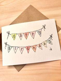 Happy Birthday Cards Handmade, Creative Birthday Cards, Simple Birthday Cards, Homemade Birthday Cards, Birthday Cards For Friends, Homemade Cards, Ideas For Birthday Cards, Watercolor Birthday Cards, Birthday Card Drawing
