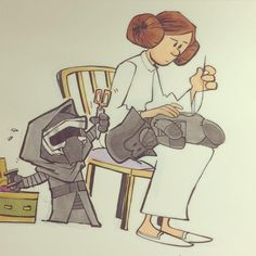 Little Kylo loves his stuffed grampa... and Leia is so done #StarWars