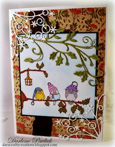 Image is Winter Birds from Squigglefly.  Card by Darlene Pavlick