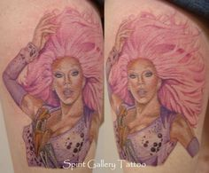 This is total fandom. A fierce RuPaul tattoo-- Love.