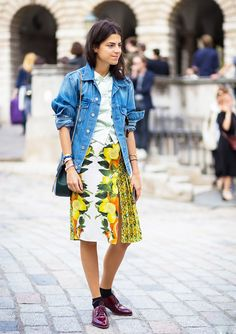 Denim jacket + printed skirt + oxfords