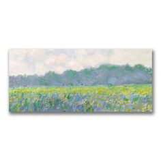 """Trademark Fine Art Claude Monet """"Field of Yellow Irises at Giverny"""" Canvas Art at Lowe's. This ready to hang, gallery-wrapped art piece features a field of yellow irises. Giclee (jee-clay) is an advanced printmaking process for creating high Monet Paintings, Impressionist Paintings, Landscape Paintings, Landscapes, Impressionism, Canvas Art Prints, Painting Prints, Canvas Wall Art, Canvas Canvas"""