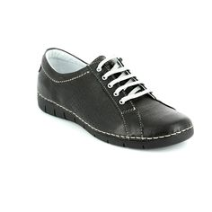 Get your ladies casual sneakers online now at Begg Shoes and Bags. Black lace up relaxshoe: www.beggshoes.com
