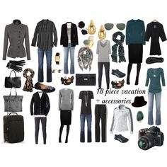 """""""18 piece vacation + accessories"""" by susanmcu on Polyvore  (another source of inspiration for a great capsule wardrobe s.)"""