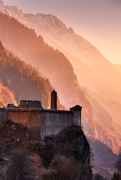 Castello di Mesocco is a castle on the montain pass road over the San Bernardino Pass. Graubünden / Grisons. Switzerland.