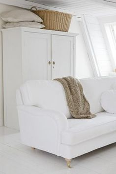 Modern Country..... white white cream and tan. Textures and tone.