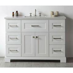 Legion Quartz Top White 48-inch Single Bathroom Vanity - 19550873 - Overstock - Great Deals on Legion Furniture Bathroom Vanities - Mobile