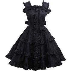 Partiss Women's Cotton Black Ruffle Sweet Lolita Dress ($60) ❤ liked on Polyvore featuring dresses, frill dress, flouncy dress, flutter-sleeve dresses, ruffle trim dress and cotton day dress