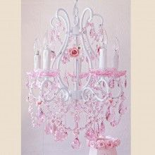 Fairy-Tale Chandelier with Pink Crystal & Porcelain Roses