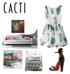 """""""Cacti"""" by nathaliepl on Polyvore featuring interior, interiors, interior design, home, home decor, interior decorating, Christian Louboutin, ArtWall, PBteen and Ellery Homestyles"""