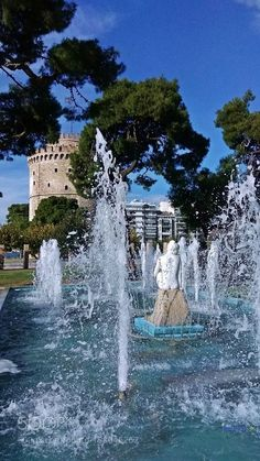 Aphrodite statue of a fountain and the White Tower, Thessaloniki - Greece This locally famous fountain in Thessaloniki . The White Tower of Thessaloniki Λευκός Πύργος Θεσσαλονίκη Mykonos Greece, Athens Greece, Macedonia Greece, Greece Thessaloniki, Crete Greece, Greek Statues, Buddha Statues, Angel Statues, Crete Island