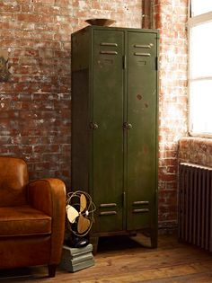 olive green metal locker | furniture + home decor