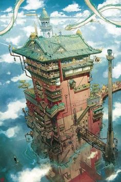 Spirited Away: The Bath House by Mathieu Bablet : ghibli Studio Ghibli Art, Studio Ghibli Movies, Hayao Miyazaki, Fantasy World, Fantasy Art, Personajes Studio Ghibli, Casa Anime, Chihiro Y Haku, Environment Concept Art