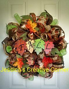 Fall deco mesh wreath ~ fall foliage wreath by JessCreativeCorner on Etsy