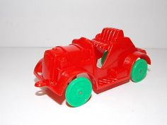 Vintage 50's Rosbro E. Rosen Christmas car candy container pull toy hard plastic | #435100518