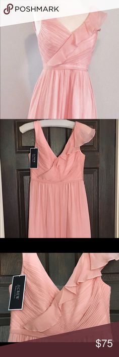 J. Crew Blush Chiffon Dress Petite 4 -NWT Beautiful and feminine crinkle chiffon dress in a blush pink from J.Crew. Ruffle detail on one shoulder. Brand new with tags. Size 4 petite. Perfect for any special occasion. J. Crew Dresses