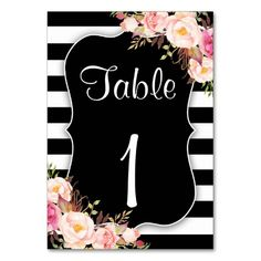 Elegant Black And White Striped Table Number Cards Pink Watercolor, Watercolor Wedding, Wedding Invitation Sets, Invites, Vintage Flowers, Pink Flowers, Black White Stripes, Black And White, Striped Table