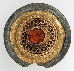Disk Brooch, 7th c, Anglo-Saxon Copper alloy, silvered, gold, glass paste Overall: 1 3/16 x 1/2 in. (3 x 1.2 cm)